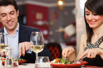 Couple in a restaurant