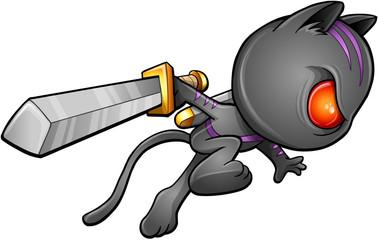 Cute Kitten Warrior Ninja Vector