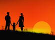 Happy Family on a sunset background.Earth day. Vector