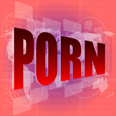 porn word on digital screen