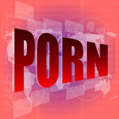 porn word on digital screen