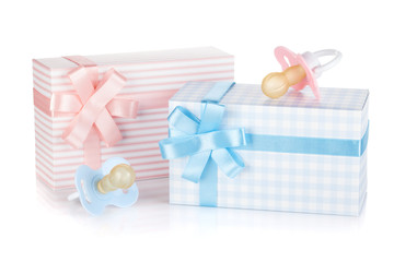 Gift box and pacifier for little boy and girl