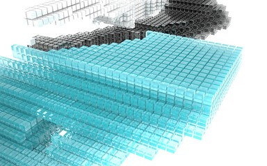 Abstract image of blue, black and white glass cubes.