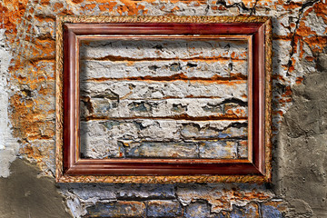 Picture frame on a stone grunge background