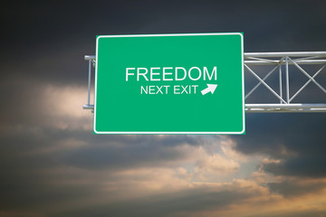 Freedom - 3D Highway Exit Sign