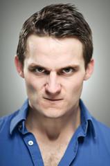 Caucasian Man Anger Expression Portrait