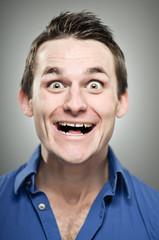 Caucasian Man Extreme Excitement Portrait