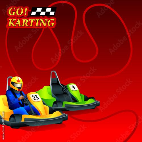 Go! Karting race ad poster or leaflet design