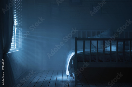 Plagát Bedroom with moonlight and smoke