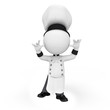 3d white people as chef dancing on white background