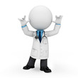 3d white people as doctor standing on blank background
