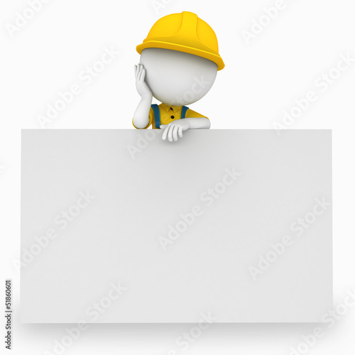 3d white people as plumber standing near sign