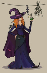 Young sexy witch with poison and spider
