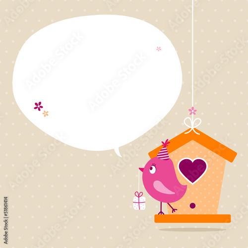 Pink Bird House Gift Speech Bubble Beige Dots
