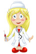 Girl doctor character cartoon style vector illustration white