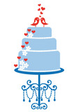 wedding cake with cute birds, vector