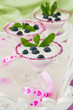 Fresh blueberry yogurt dessert in martini glasses and leafs of m