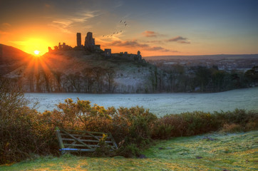 Castle ruins Winter sunrise.