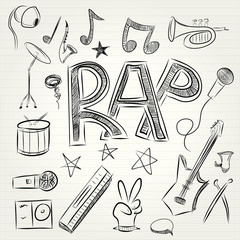 Hand-drawn musical icons. Vector illustration.