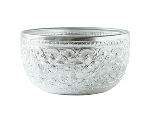 silver bowl isolated on white background