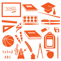 School icons silhouette set