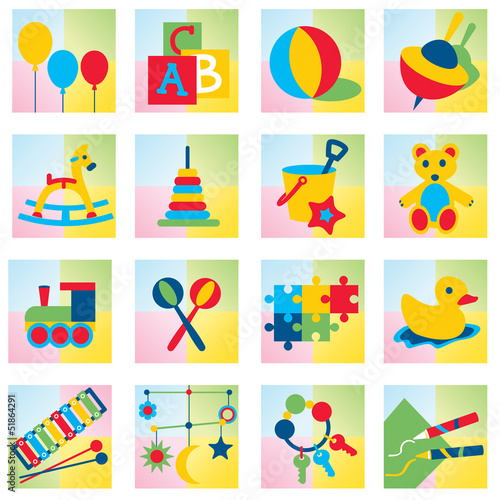 Set of sixteen children toy icons