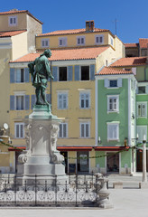 Piran's Main Square With Tartini's Statue