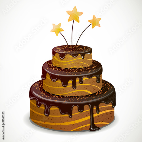 Vector Illustration of a Sweet Chocolate Cake