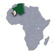 Afrikakarte und Algerien