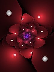 Dark red fractal flower, digital artwork