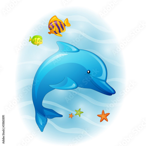 Foto op Plexiglas Dolfijnen Vector Illustration of a Cartoon Dolphin