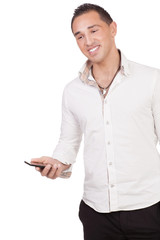 Happy Asian young man holding a cell phone