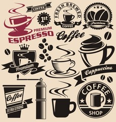 Set of coffee symbols, icons and signs