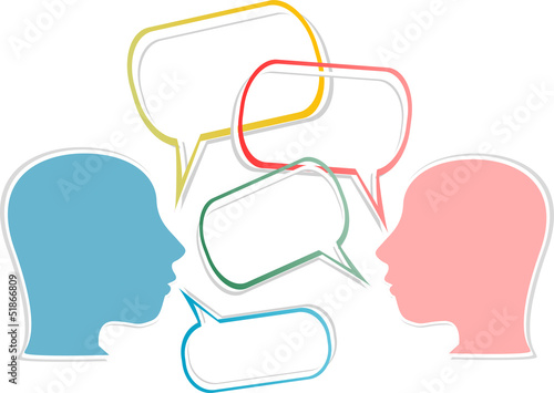 dialogue concept. human head with speech bubbles