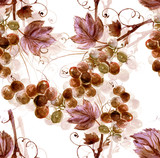Watercolor Grape Seamless Pattern