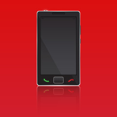 Vector mobile smart phone on red background