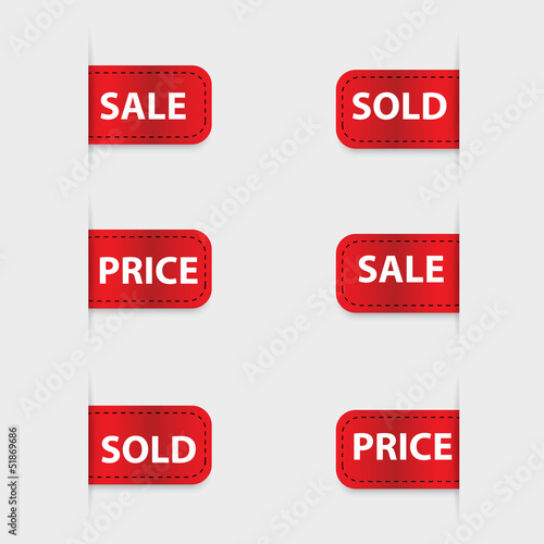 Set of red discount labels. Vector