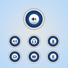 Vector media player buttons