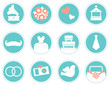 Wedding icons in retro style isolated on white ( blue )