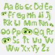 Cartoon green alphabet with eyes
