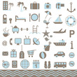 Summer tourism icons set