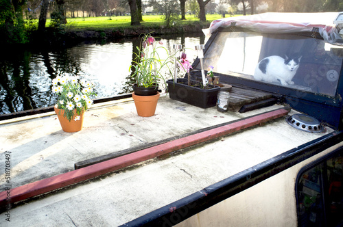 Houseboat on canal with flower pots