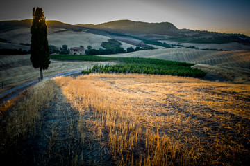 Sunset on the Tuscan hills, Italy