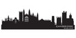 Cambridge England city skyline Detailed silhouette