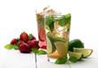 Fresh tasty strawberry and mint mojito