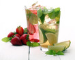 Fresh tasty strawberry and mint mojito