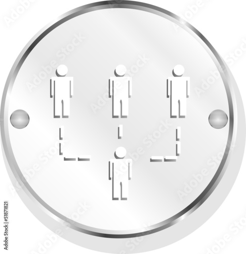 Social media, people network, isolated metal button on white