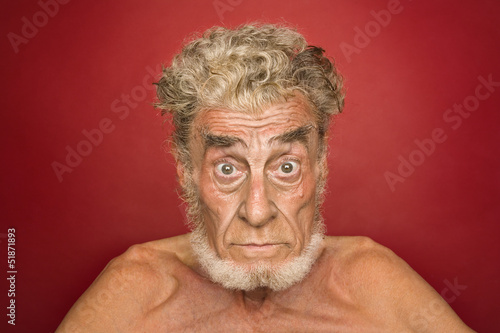portrait of an elderly man with facial expressions