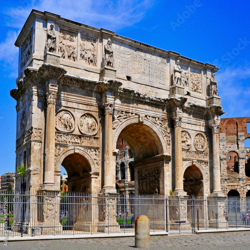 The Arch of Constantine and the Coliseum in Rome, Italy