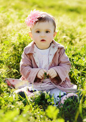 fashion baby in grass